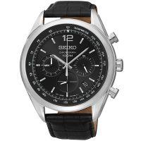 Seiko Uhr SSB097P1 Herrenuhr Chronograph Schwarz Leder Datum Watch NEU & OVP