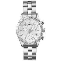 Timex Uhr T2P059 CHICAGO Damen Chronograph Edelstahl Silber Datum Weiß NEU & OVP
