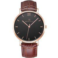 Mendozza Uhr MW-RR0304H-OK Midnight Black Armbanduhr Leder Schwarz Roségold