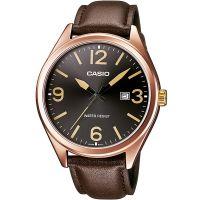 Casio Uhr MTP-1342L-1B2 Herren Armbanduhr Leder Braun Roségold Datum NEU & OVP