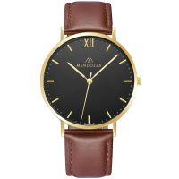 Mendozza Uhr MW-RG0204H-ON Midnight Black Armbanduhr Leder Braun Gold