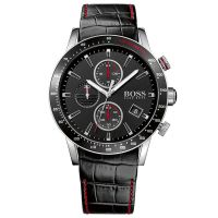 Hugo Boss Uhr 1513390 Herren Chronograph Leder Schwarz Edelstahl Rot NEU & OVP