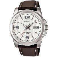 Casio Uhr MTP-1314PL-7A Herren Armbanduhr Leder Braun Silber Datum Men NEU & OVP