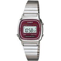 Casio Collection Uhr LA670WA-4DF Digital Damen Armbanduhr Silber Rot NEU & OVP