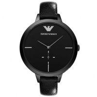 Emporio Armani Uhr AR7305 Damenuhr Schwarz Leder Lady Black Watch NEU & OVP