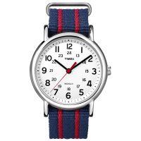 Timex Uhr T2N747 WEEKENDER Damen Herren Textilarmband Blau Rot Silber NEU & OVP