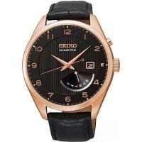 Seiko Kinetic Uhr SRN054P1 Herrenuhr Rosé Schwarz Leder Datum Watch NEU & OVP