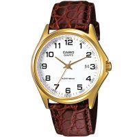 Casio Uhr MTP-1188PQ-7B Herren Armbanduhr Leder Braun Weiß Datum Watch NEU & OVP