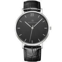 Mendozza Uhr MW-RS0104H-LK Midnight Black Armbanduhr Leder Schwarz Silber