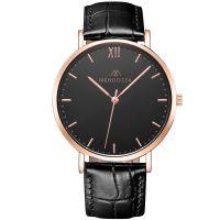 Mendozza Uhr MW-RR0304H-LK Midnight Black Armbanduhr Leder Schwarz Roségold