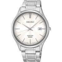 Seiko Uhr SGEG93P1 Herrenuhr Silber Weiß Datum 100m WR Edelstahl Watch NEU & OVP