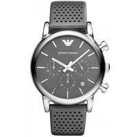 Emporio Armani Uhr AR1735 Herren Chronograph Grau Silber Leder Watch NEU & OVP