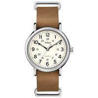 Timex Uhr T2P492 WEEKENDER 40 Damen Herren Leder Braun Silber Watch NEU & OVP
