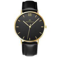 Mendozza Uhr MW-RG0204H-LN Midnight Black Armbanduhr Leder Schwarz Gold