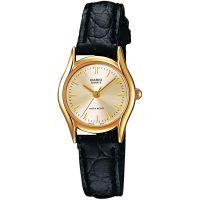 Casio Uhr LTP-1154PQ-7AEF Damen Armbanduhr Leder Gold Schwarz Watch NEU & OVP