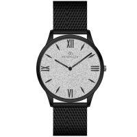 Mendozza Uhr MW-GB0401H-BM White Diamond Armbanduhr Silber Schwarz