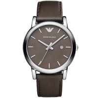 Emporio Armani Uhr AR1729 Unisexuhr Braun Silber Leder Men Lady Watch NEU & OVP