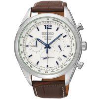 Seiko Uhr SSB095P1 Herrenuhr Chronograph Weiß Braun Leder Datum Watch NEU & OVP