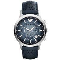 Emporio Armani Uhr AR2473 Herren Chronograph Blau Grau Leder Watch NEU & OVP