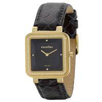 Pandora Damen Uhr 812030BK Leder Armband Schwarz Gold Lady Watch NEU & OVP