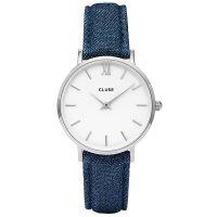 Cluse Uhr CL30030 Minuit Damen Leder Blue Jeans Denim Silber Weiß NEU & OVP