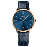 Hugo Boss Uhr 1513371 Herren Leder Blau Edelstahl Roségold Watch Men NEU & OVP