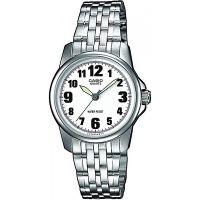 Casio Uhr LTP-1260PD-7B Damen Armbanduhr Edelstahl Silber Weiß Watch NEU & OVP