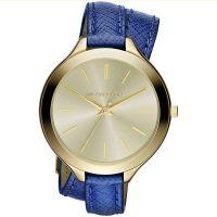 Michael Kors Uhr MK2286 Damenuhr Gold Blau Double Wrap Leder Armband NEU & OVP