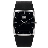 Skagen Uhr 567LSLB Slimline Herrenuhr Leder Schwarz Silber Watch Men NEU & OVP