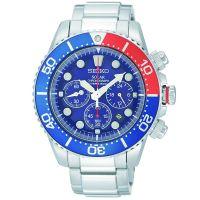 Seiko Uhr SSC019P1 Taucheruhr Herren Solar Chronograph Blau Rot Weiß NEU & OVP