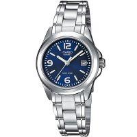 Casio Uhr LTP-1259PD-2A Damen Armbanduhr Edelstahl Silber Blau Datum NEU & OVP