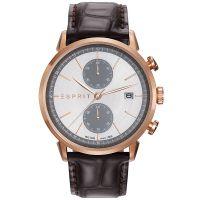 Esprit Uhr ES109181002 Herren Chronograph Lederarmband Braun Roségold NEU & OVP
