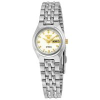 Seiko 5 Lady Uhr SYMK41K1 Damen Automatikuhr Silber Weiß Gold Watch NEU & OVP