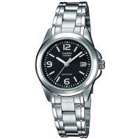 Casio Uhr LTP-1259PD-1A Damen Armbanduhr Edelstahl Silber Schwarz Datum NEU & OVP