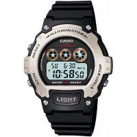Casio Uhr W-214H-1A Herren Damen Digitaluhr Armbanduhr Silber Schwarz NEU & OVP