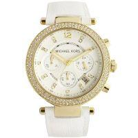 Michael Kors Uhr MK2290 Parker Damenuhr Gold Weiß Leder Strass Chrono NEU & OVP