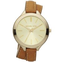 Michael Kors Uhr MK2256 Damenuhr Gold Double Wrap Leder Armband Slim NEU & OVP
