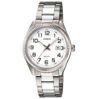 Casio Uhr LTP-1302PD-7B Damen Armbanduhr Edelstahl Silber Weiß Datum NEU & OVP
