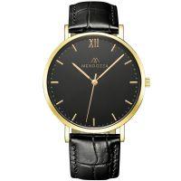 Mendozza Uhr MW-RG0204H-LK Midnight Black Armbanduhr Leder Schwarz Gold