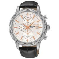 Seiko Uhr SPL053P1 Herren Chronograph Leder Schwarz Weiß Datum Watch NEU & OVP