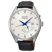 Seiko Kinetic Uhr SRN071P1 Herren Leder Schwarz Silber Datum Watch NEU & OVP