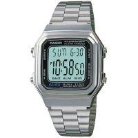Casio Uhr A178WEA-1A Retro Digitaluhr Armbanduhr Herren Damen Silber NEU & OVP