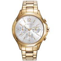 Esprit Uhr ES109242002 Damen Chronograph Edelstahl Gold Silber Strass NEU & OVP