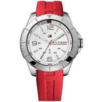 Tommy Hilfiger Uhr 1790998 Herren Silikonarmband Rot Silber Weiß Watch NEU & OVP