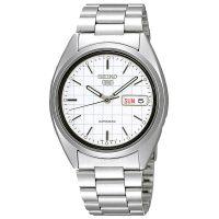 Seiko 5 Gent Uhr SNXF05K Automatikuhr Silber Weiß Herrenuhr Watch NEU & OVP