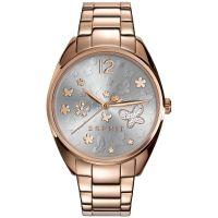 Esprit Uhr ES108922003 Damen Edelstahl Roségold Silber Strass Watch NEU & OVP