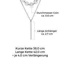 Mendozza Kette MJ-NE01750L Damen Doppelkette Silber Stab Anhänger