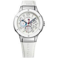 Tommy Hilfiger Uhr 1781310 Ainsley Damenuhr Silber Weiß Silikon Watch NEU & OVP