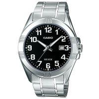 Casio Uhr MTP-1308PD-1BVEF Herren Edelstahl Silber Schwarz Datum Watch NEU & OVP