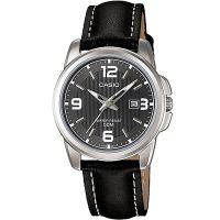 Casio Uhr LTP-1314L-8A Damen Armbanduhr Leder Silber Schwarz Datum NEU & OVP